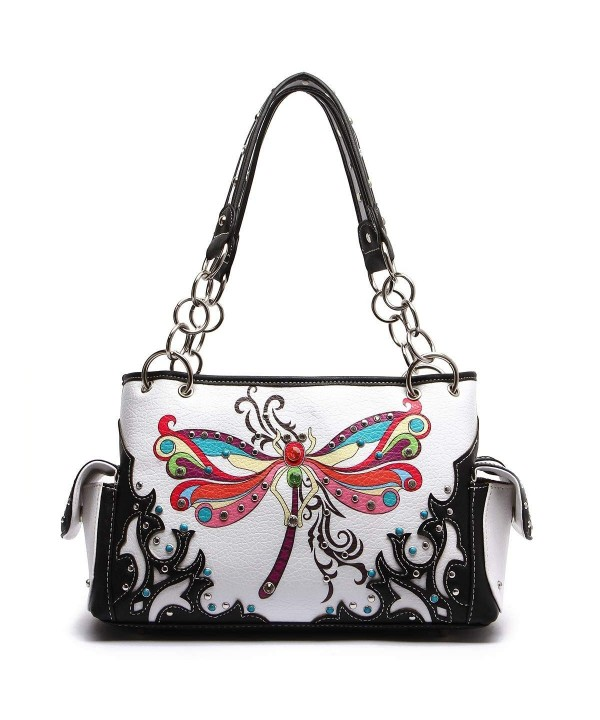 Western Handbag Colorful Dragonfly Studded