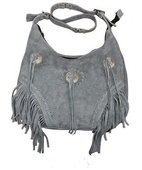 Fringe Leather Shoulder Southwest Cabochon Gray
