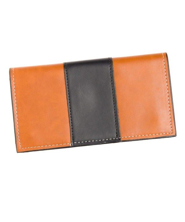 Leather Wallet Womens Contrast Brown