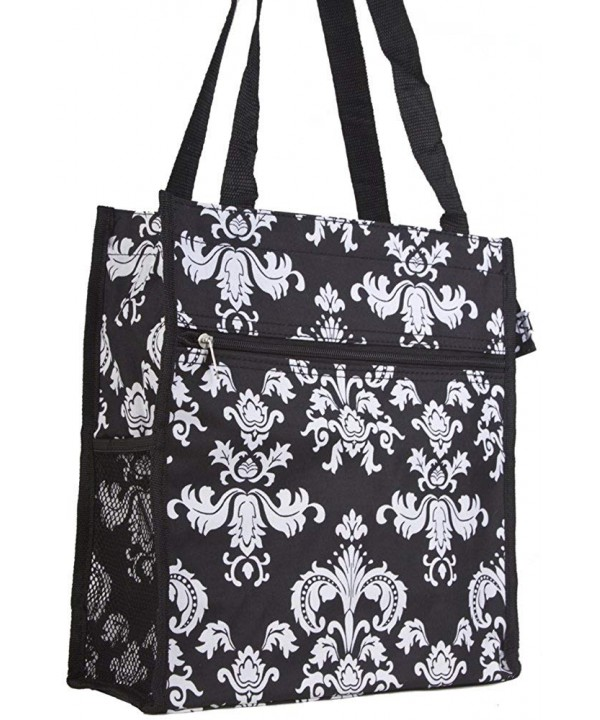 Black Floral Damask Travel Tote