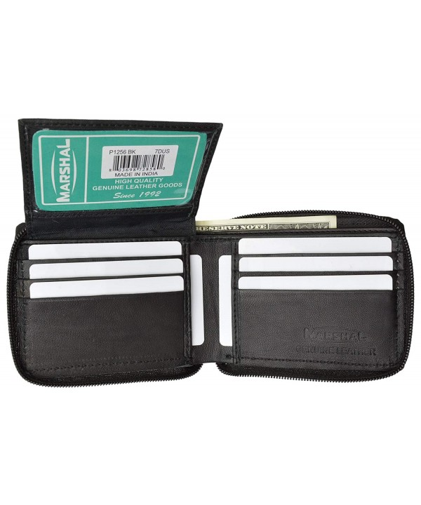 Zippered Bifold Wallet Genuine Leather