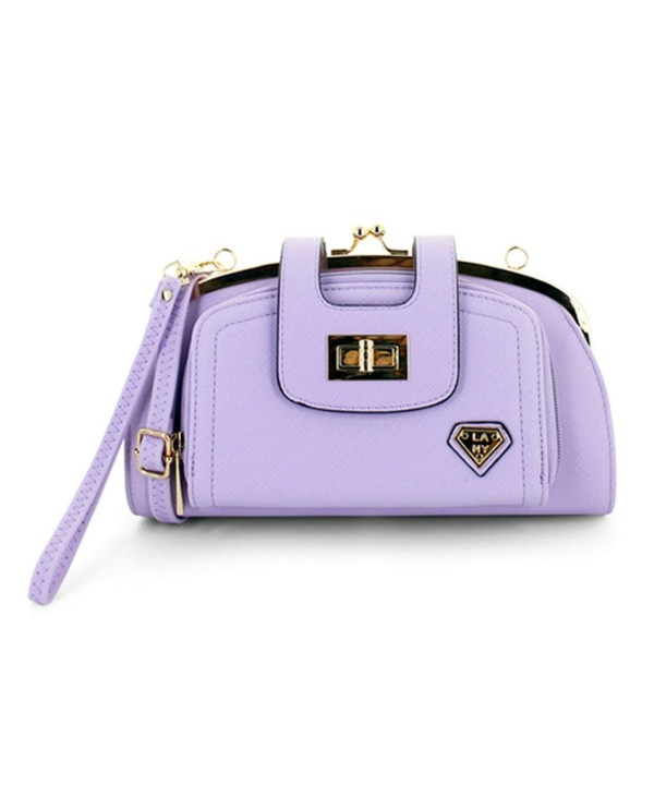 Front Twist Clutch Crossbody Handbag purple