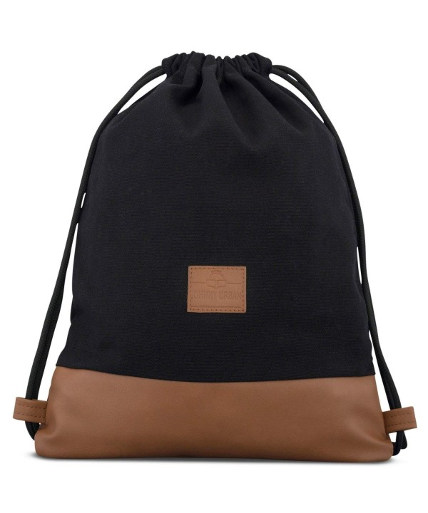 Drawstring Bag Cotton Black Brown