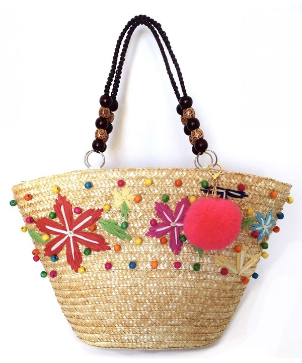 Straw Beach Tote Woven Shoulder