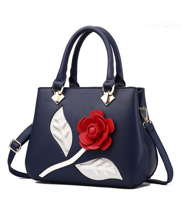 Donalworld Flower Handbag Embroidery Leather