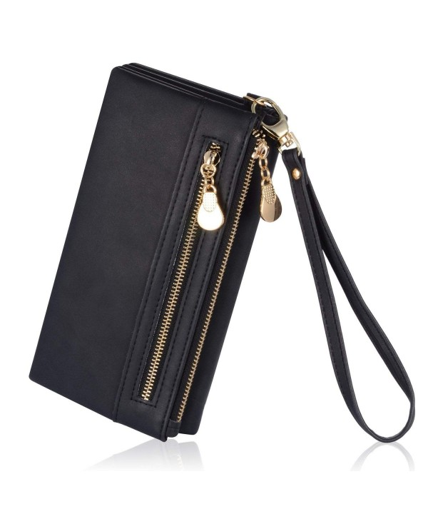 Womens Leather Double Zipper Holder