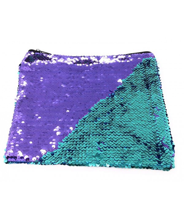 Purple Teal Mermaid Sequins Pouch