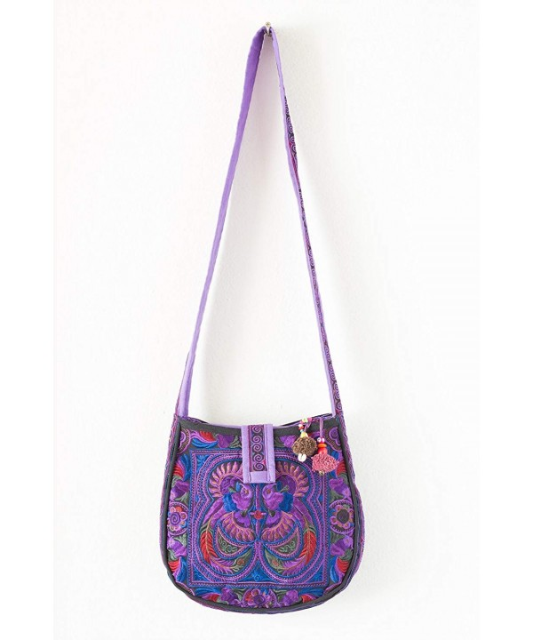 Changnoi Purple Crossbody Embroidered Fabric
