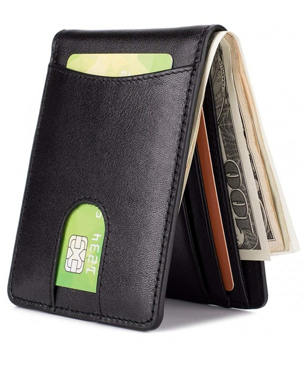 Leather Wallet Pocket Billfold Blocking Black