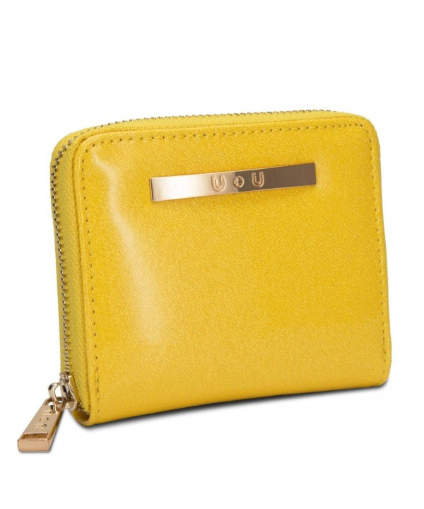 Womens Compact Leather Yellow Glitter