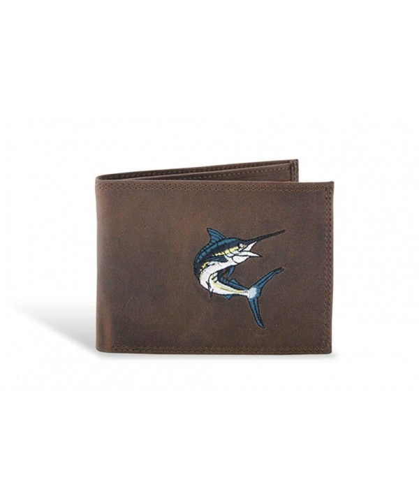 Action Marlin Embroidered Leather Bi Fold