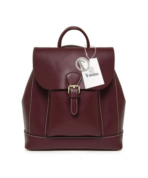 Yoome Classic Leather Backpack Burgundy