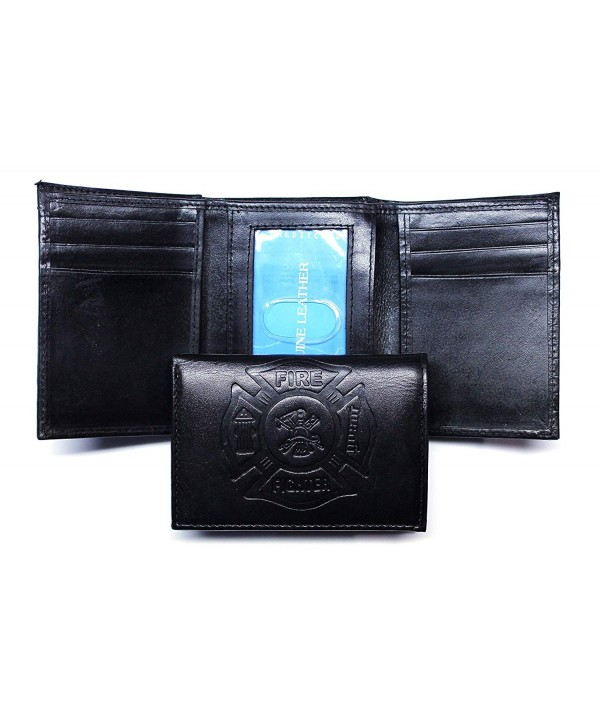 Fighter Embossed Leather Trifold Wallet