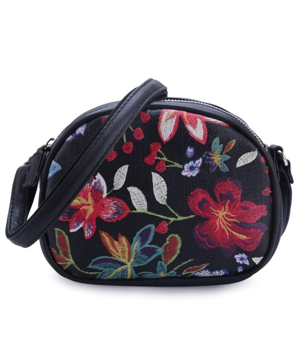 DAVIDJONES Fashion Floral Leather Crossbody