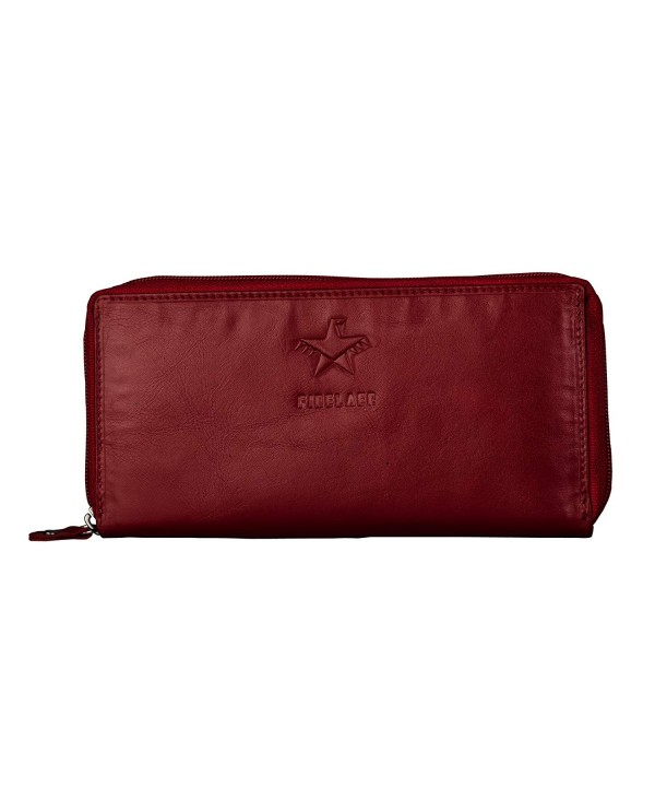 FINELAER Leather Around Clutch Wallet