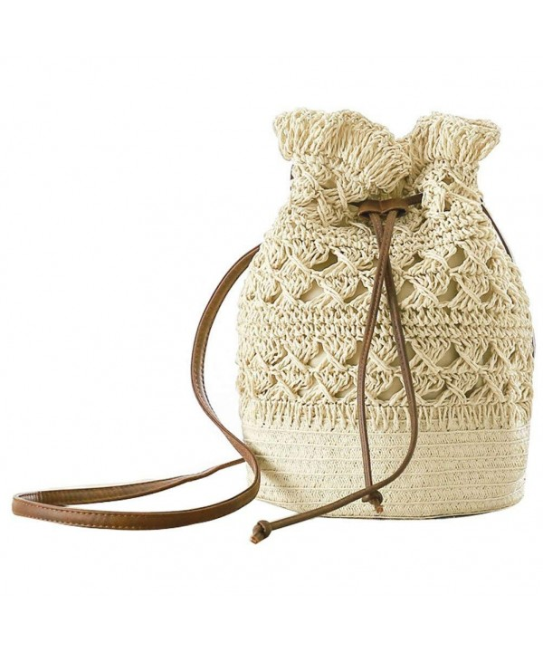 Donalworld Bucket Drawstring Crochet Shoulder