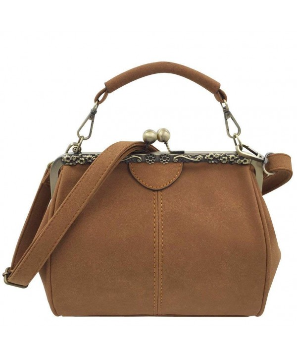 Donalworld Women Kisslock Handbag Leather