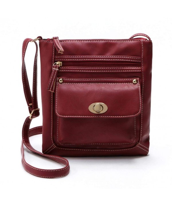 Leather Multi Pocket Crossbody Shoulder Messenger