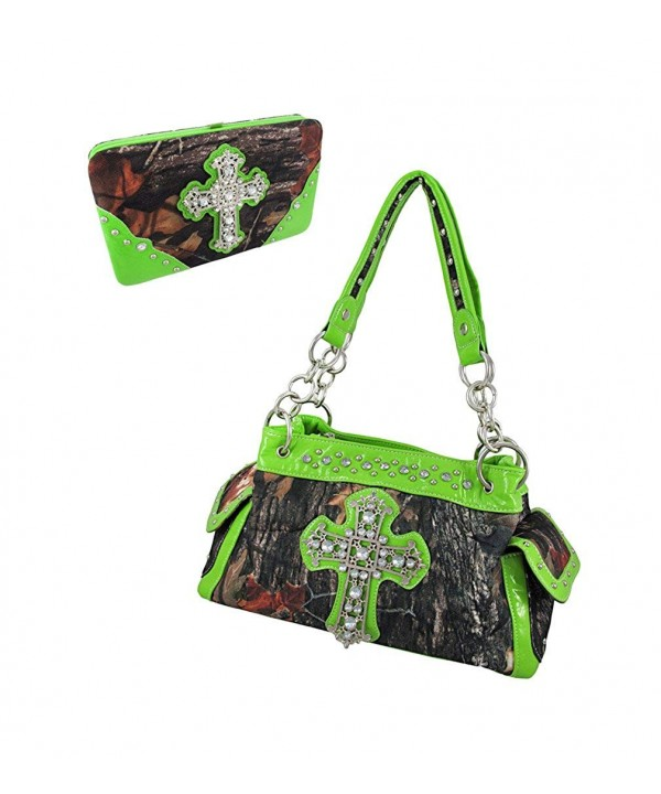 Forest Camouflage Rhinestone Cross Wallet