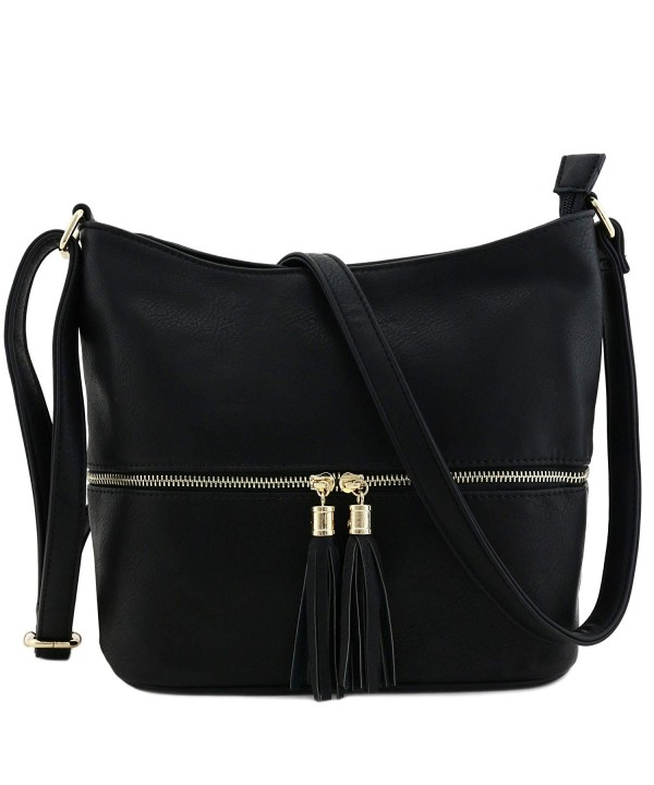 Tassel Zipper Bucket Crossbody Black