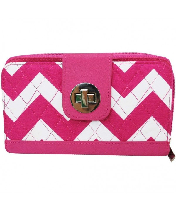 White Chevron Print Quilted Wallet