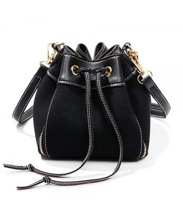Bucket Leather Crossbody Handbags Keychain