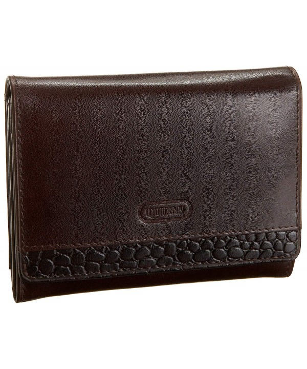 Leatherbay Accordian Wallet Croc Brown