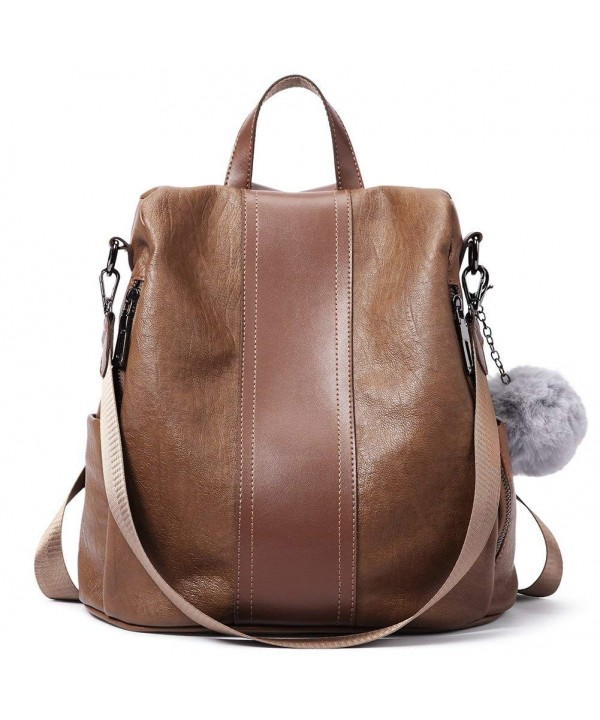 Women Backpack Purse Soft Pu Leather Fashion Anti Theft Lightweight School Las Travel Shoulder Bag 1 Brown Cd18dahyu7a