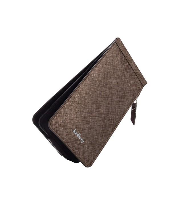 Womens Blocking Leather Wallet Zipper