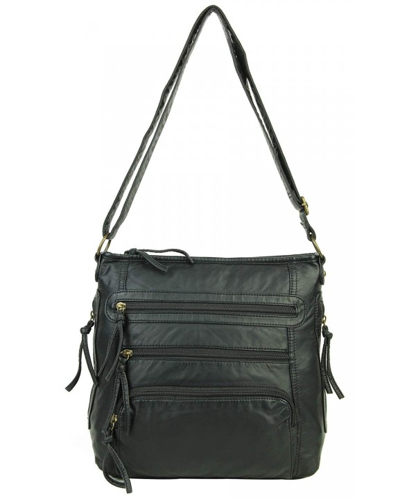 Leather Crossbody Shoulder Multiple Pockets