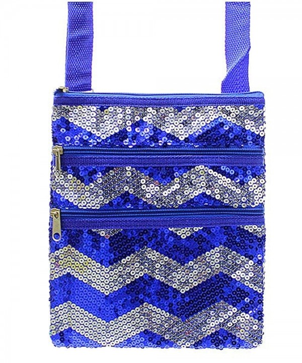 Sequin Chevron Stripe Hipster Handbag