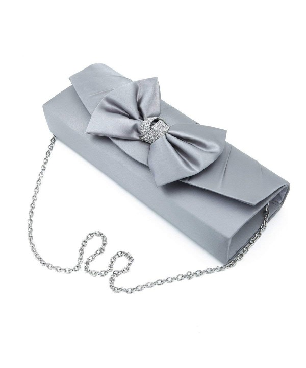 Elegant Crystal Clutch Evening Silver