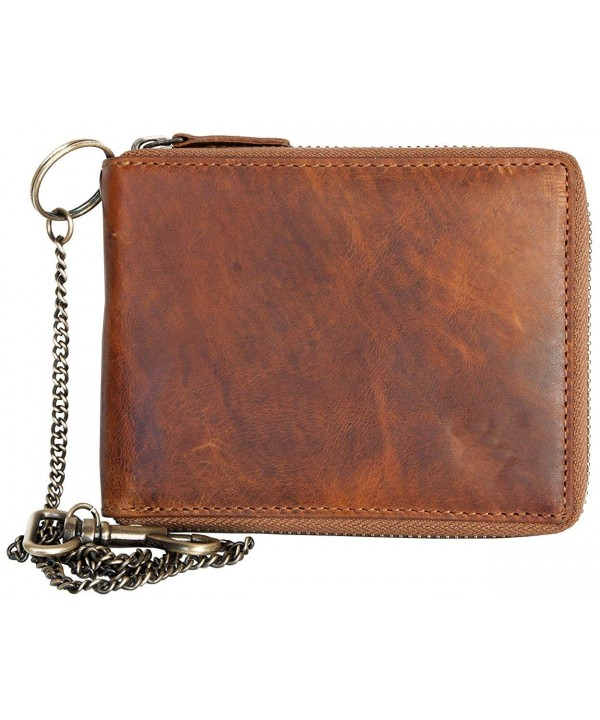 Glazed Genuine Leather Wallet Zipper