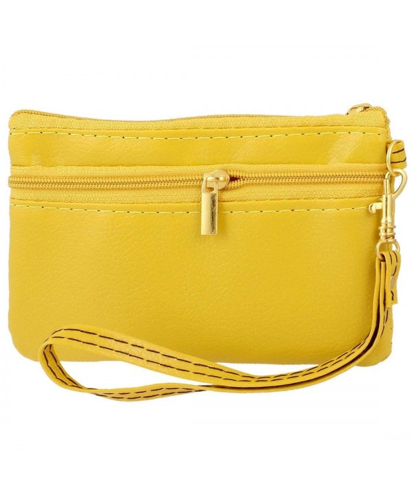 Yellow Leather Zipper Closure Compartment