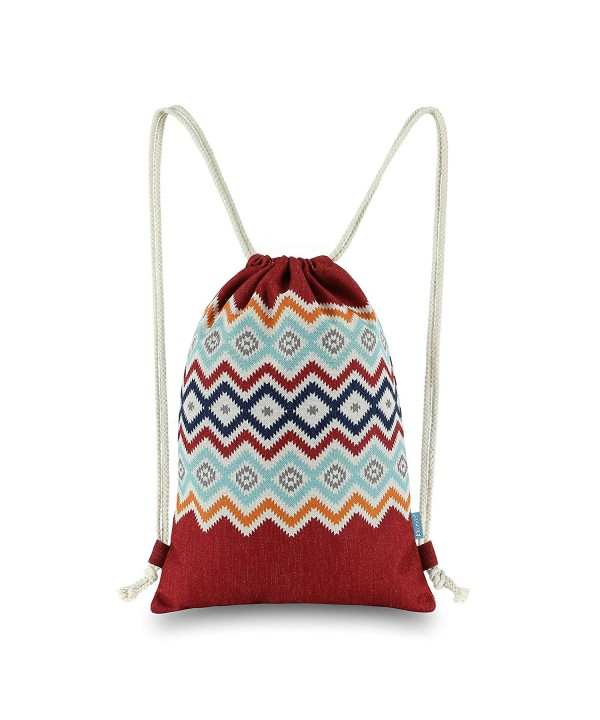 Miomao Drawstring Backpack Bohemia Burgundy