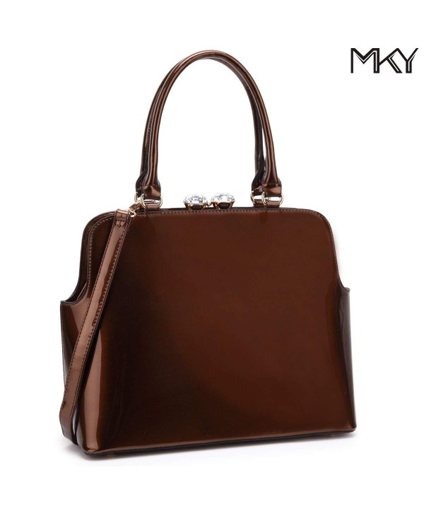 152ef74d861b Women Shiny Patent Leather Handbag Top Handle Satchel Shoulder Bag w/Top  Rhinestone - Coffee - CP186GRT33I