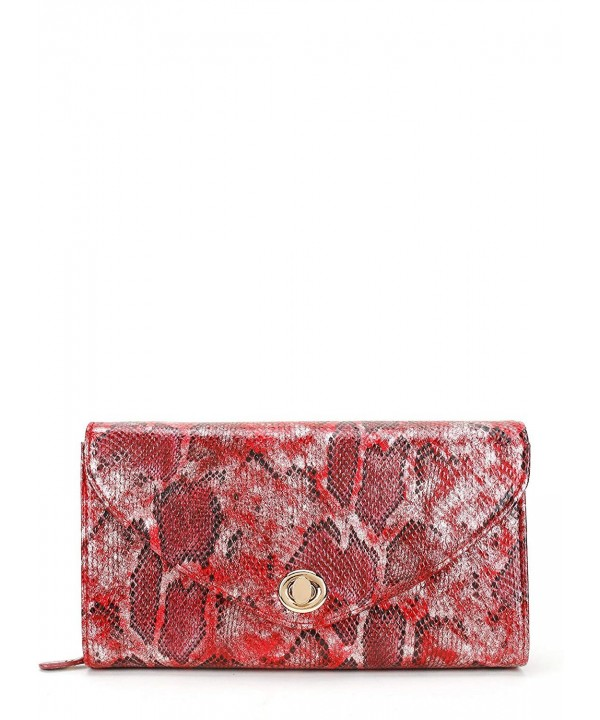 Snakeskin Pattern Envelope Clutch Closure