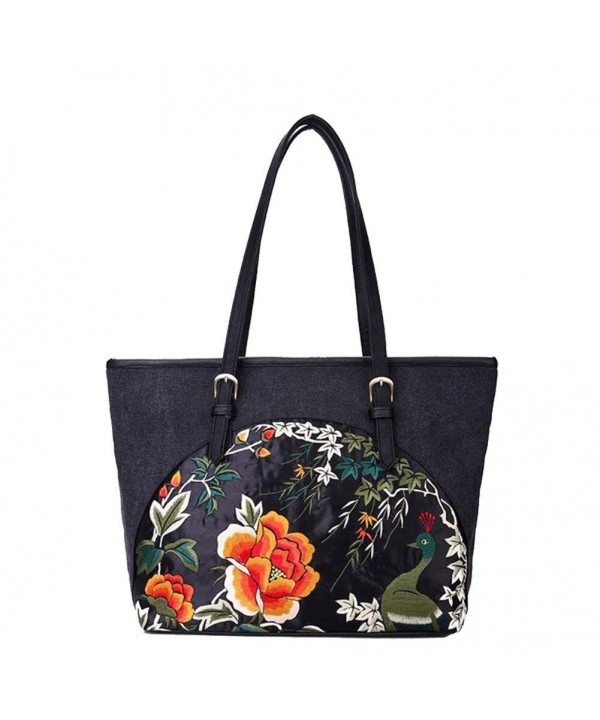 Womens Canvas Shoulder Embroidery Handbag