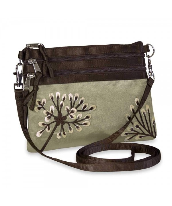Embroidered Dandelion Zip Messenger Pewter