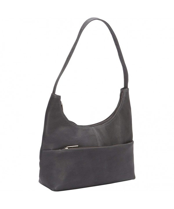 Donne Leather Top Hobo Gray