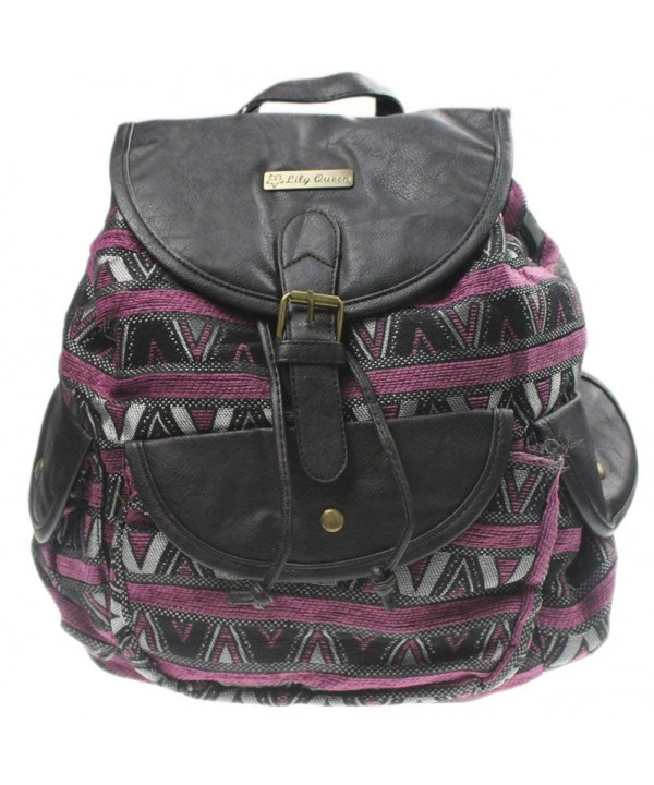 eYourlife2012 Vintage Striped Canvas Backpack