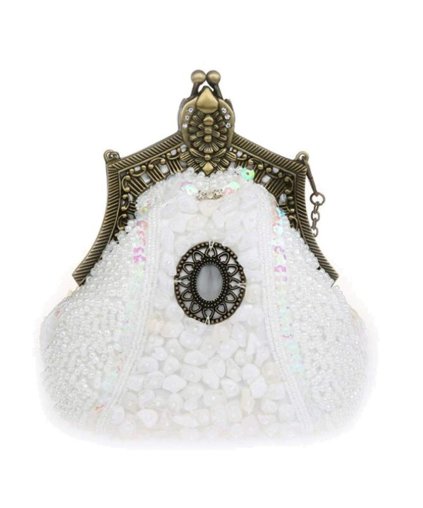 76b1e3a43676a Elegant Rhinestones Hard Clutch Pearl Evening Bag with Zip ...