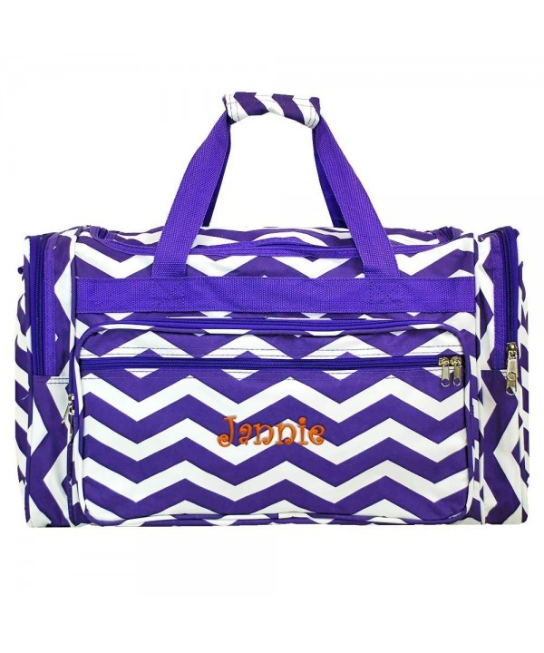Personalized Purple Chevron Weekender Duffle