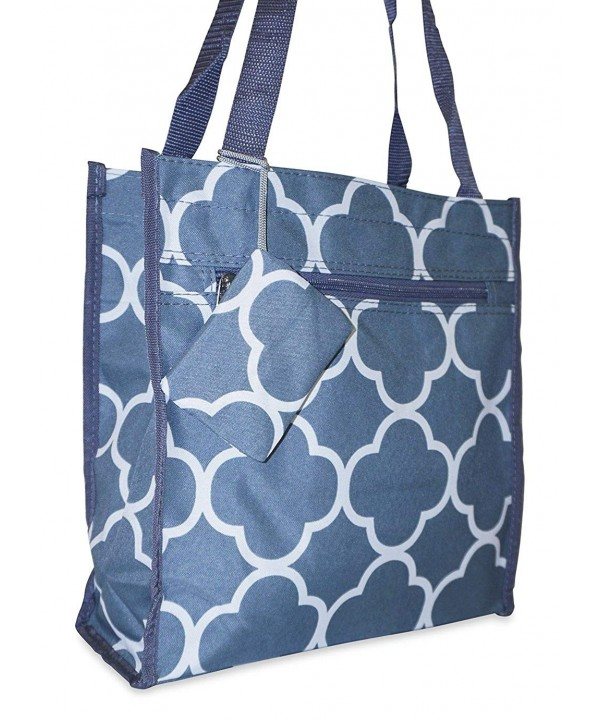 Ever Moda Quatrefoil Tote Grey
