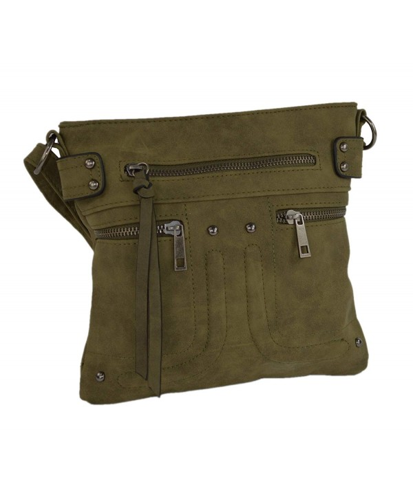 Olive Leather Zippered Messenger Crossbody
