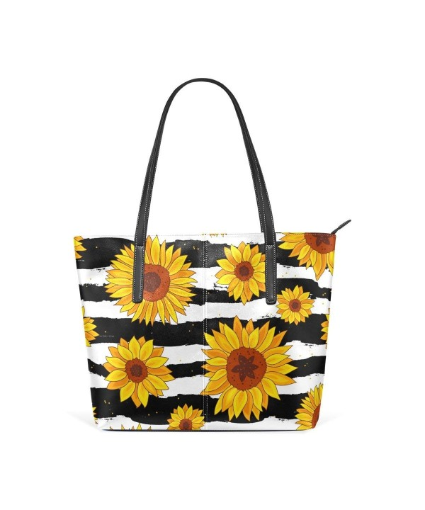 WellLee Sunflowers Striped Leather Shoulder
