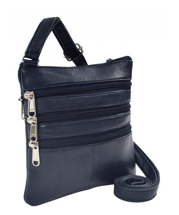 Genuine Leather Crossbody Bag 2 459 1F navy