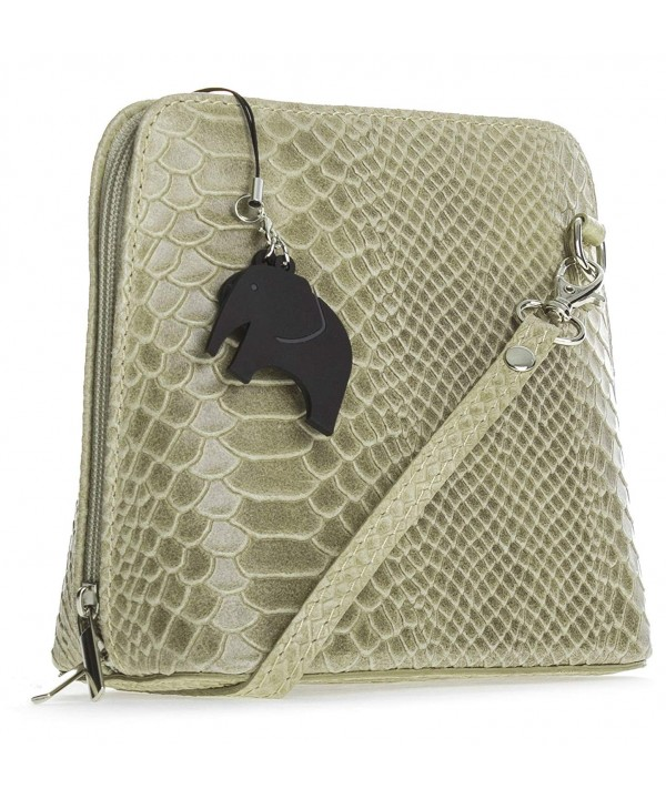 8a740460e5ac Big Handbag Shop Womens Mini Genuine Leather Cross-Body Messenger Shoulder  Bag [Snake - Beige] - CP12O1I7BB9