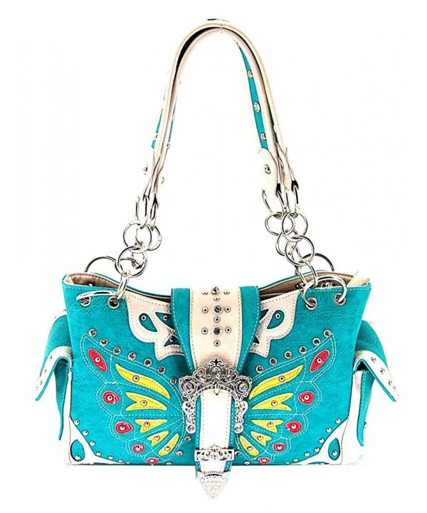 Western Style Butterfly Satchel Turquoise