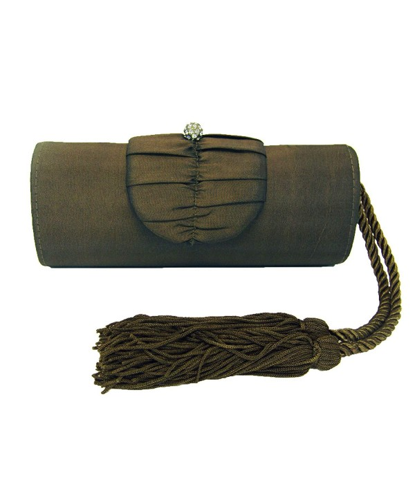 Bronze Tassel Satin Clutch Evening
